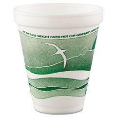 Dart® Horizon Hot/Cold Foam Drinking Cups, 12oz, Green/White, 25/Bag, 40 Bags/Carton