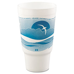 Dart® Horizon Hot/Cold Foam Drinking Cups, 32oz, Teal/White, 16/Bag, 25 Bags/Carton