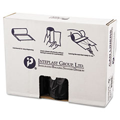 """Inteplast Group High-Density Interleaved Commercial Can Liners, 60 gal, 16 microns, 43"""" x 48"""", Black, 200/Carton"""