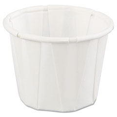 Genpak® Squat Paper Portion Cup, .75oz, White, 250/Bag, 20 Bags/Carton