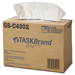 HOSPECO® TASKBrand Glass & Surface Wipers, 4Ply, 9.75 x 16.75, White, 150/Box, 6 BX/Ct