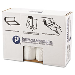 """Inteplast Group High-Density Interleaved Commercial Can Liners, 60 gal, 12 microns, 38"""" x 60"""", Clear, 200/Carton"""