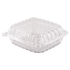 Dart® ClearSeal Hinged-Lid Plastic Containers, 8.3 x 8.3 x 3, Clear, 250/Carton