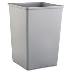 Untouchable Square Waste Receptacle, Plastic, 35 gal, Gray