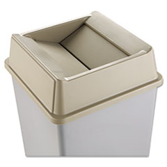 Rubbermaid® Commercial Untouchable Square Swing Top Lid, Plastic, 20.13w x 20.13d x 6.25h, Beige