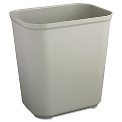 Rubbermaid® Commercial Fire-Resistant Wastebasket, Rectangular, Fiberglass, 7 gal, Gray