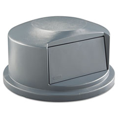 Rubbermaid® Commercial Round BRUTE Dome Top Receptacle, Push Door, 24.81w x 12.63h, Gray