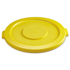 "Rubbermaid® Commercial Round Flat Top Lid, for 32 gal Round BRUTE Containers, 22.25"" diameter, Yellow"