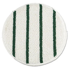 "Rubbermaid® Commercial Low Profile Scrub-Strip Carpet Bonnet, 19"" Diameter, White/Green, 5/Carton"