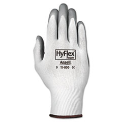AnsellPro HyFlex Foam Gloves, White/Gray, Size 9, 12 Pairs