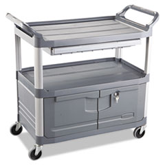 Rubbermaid® Commercial Xtra Instrument Cart, 300-lb Capacity, Three-Shelf, 20w x 40.63d x 37.8h, Gray