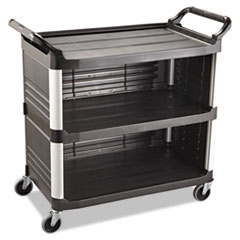 Rubbermaid® Commercial Xtra Utility Cart, 300-lb Capacity, Three-Shelf, 20w x 40.63d x 37.8h, Black