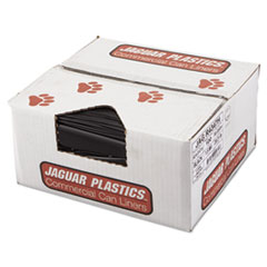 "Jaguar Plastics® Repro Low-Density Can Liners, 56 gal, 1.5 mil, 43"" x 47"", Black, 100/Carton"