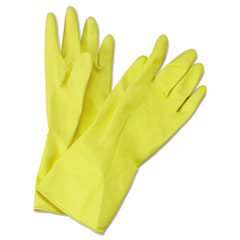 Boardwalk® Flock-Lined Latex Cleaning Gloves, Medium, Yellow, 12 Pairs