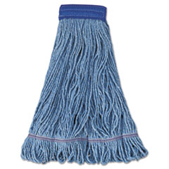 "Boardwalk® Super Loop Wet Mop Head, Cotton/Synthetic Fiber, 5"" Headband, X-Large Size, Blue, 12/Carton"