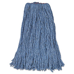 "Rubbermaid® Commercial Cotton/Synthetic Cut-End Blend Mop Head, 24 oz, 1"" Band, Blue, 12/Carton"