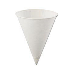 Rolled Rim, Poly Bagged Paper Cone Cups, 4oz, White, 5000/Carton
