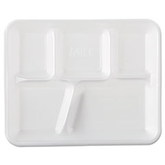 Genpak® Foam School Trays, 5-Compartment, 8.4 x 10.4 x 1.25, White, 500/Carton