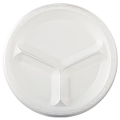 "Genpak® Elite Laminated Foam Dinnerware, 3-Comp Plate, 10.25""Dia, White, 125/PK, 4 PK/CT"