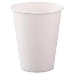 Dart® Single-Sided Poly Paper Hot Cups, 8oz, White, 50/Bag, 20 Bags/Carton