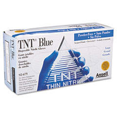 AnsellPro TNT Disposable Nitrile Gloves, Non-powdered, Blue, Large, 100/Box