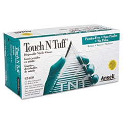 AnsellPro Touch N Tuff Nitrile Gloves, Teal, Size 7 1/2 - 8, 100/Box