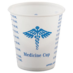 Dart® Paper Medical and Dental Graduated Cups, 3 oz, White/Blue, 100/Bag, 50 Bags/Carton