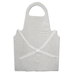 GN1 Disposable Apron, White, Poly, 28 x 45, 1.25 mil, One Size, 100/Pk