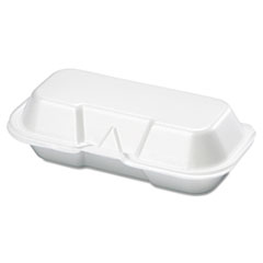Genpak® Foam Hot Dog Container, 7 3/8 x 3 9/16 x 2 1/4, White, 125/Bag, 4 Bags/Carton