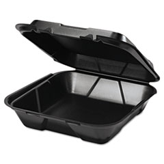 Genpak® Snap It Foam Container, 1-Comp, 9 1/4 x 9 1/4 x 3, Black, 100/Bag, 2 Bags/Carton