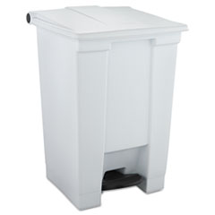 Rubbermaid® Commercial Indoor Utility Step-On Waste Container, Square, Plastic, 12 gal, White