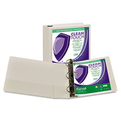 """Samsill® Clean Touch Locking Round Ring View Binder, Antimicrobial, 3"""" Cap, White"""