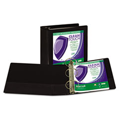 """Samsill® Clean Touch Locking Round Ring View Binder, Antimicrobial, 4"""" Cap, Black"""
