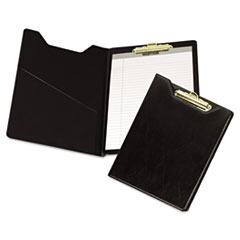 Samsill® Value Padfolio, Heavyweight Sealed Vinyl, Brass Clip, Inside Front Pocket, Black