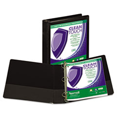 """Samsill® Clean Touch Locking Round Ring View Binder, Antimicrobial, 1 1/2"""" Cap, Black"""