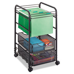 Safco® Onyx Mesh Open Mobile File, Two-Drawers, 15.75w x 17d x 27h, Black