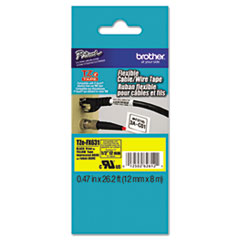 """Brother P-Touch® TZe Flexible Tape Cartridge for P-Touch Labelers, 0.47"""" x 26.2 ft, Black on Yellow"""
