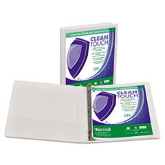 """Samsill® Clean Touch Locking Round Ring View Binder, Antimicrobial, 1"""" Cap, White"""