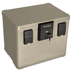 Fire and Waterproof Chest, 0.6 cu ft, 16w x 12.5d x 13h, Taupe