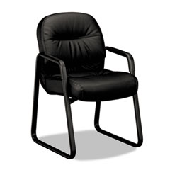 Image of 2090 Pillow-Soft Series Leather Guest Arm Chair, Black Chairs HON2093SR11T HON