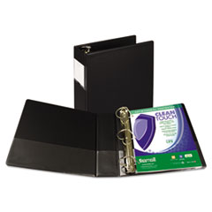 """Samsill® Clean Touch Locking D-Ring Reference Binder, Antimicrobial, 3"""" Cap, Black"""