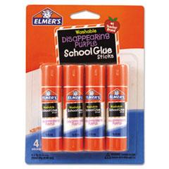 Washable School Glue Sticks, 0.24 oz, Applies Purple, Dries Clear, 4/Pack