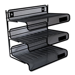 """Universal® Deluxe Mesh Three-Tier Desk Shelf, 3 Sections, Letter Size Files, 13.25"""" x 9.25"""" x 12.38"""", Black"""