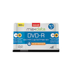 Maxell® DVD-R Recordable Discs, Printable, 4.7GB, 16x, Spindle, White, 50/Pack