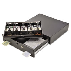 SteelMaster® Alarm Alert Steel Cash Drawer with Key and Push-Button Release Lock, Black