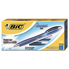 BIC® Atlantis Retractable Gel Pen, Blue, .7mm, Medium, Dozen