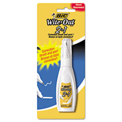BIC® Wite-Out 2-in-1 Correction Fluid, 15 ml Bottle, White