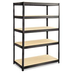 Boltless Steel/Particleboard Shelving, Five-Shelf, 48w x 24d x 72h, Black