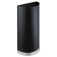 Safco® Half-Round Receptacle, Half-Round, Steel, 12.5 gal, Black