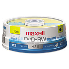 Maxell® DVD-RW Discs, 4.7GB, 2x, Spindle, Gold, 15/Pack